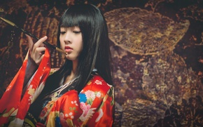 Picture girl, style, Japanese, kimono, Asian, Smoking pipe, kiseru