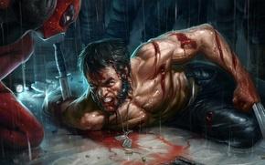 Picture Knife, Wolverine, Wolverine, Deadpool, Marvel, Deadpool, Wade Wilson