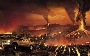 Wallpaper the city, fire, Apocalypse, building, destruction, jeep, volcanoes, car, jeep, grand cherokee