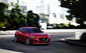 Picture Red, Car, Speed, Mazda 3, Wallpapers, New, 2013