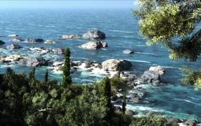 Wallpaper sea, greens, trees, landscape, stones, art, Sunny, klontak