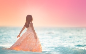 Picture sea, background, girl