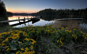 Picture lake, boats, the evening, pier, Finland, lake Lummenne