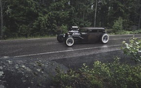 Picture forest, rain, ford, Ford, rat, rod, rod, rust, RET