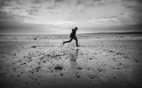 Picture wave, beach, the sky, clouds, male, rainy, launched