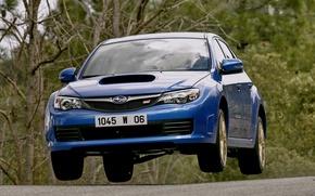 Picture auto, Subaru, blue, the front, Subaru, Subaru Impreza WRX Sti