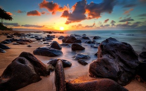 Picture the sky, landscape, stones, the ocean, dawn, horizon
