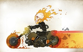 Picture fire, figure, skull, chain, motorcycle, jumpsuit, racer, comic, Ghost