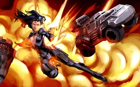 Picture girl, the explosion, gun, explosion, girl, gun, spy, spy, armored car, armored car, Machines at …