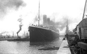 Picture retro, Wallpaper, ship, Marina, port, steamer, Titanic, liner, British, the, Titanic, passenger, RMS