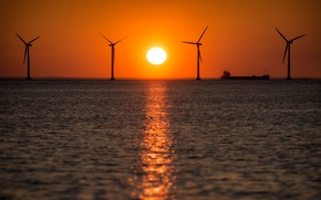 Picture sea, ship, the evening, windmills, A Nice Sunrise in Any Way