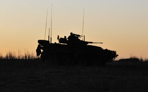 Picture silhouette, army, tank