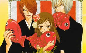 Picture smile, fish, kimono, ears, three, art, the demon-Fox, tomoe, nanami momozono, kamisaa the hajimemashita, julietta …