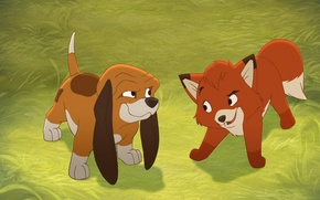 Picture character, cartoon, dog, puppy, Fox, the dog and Fox, kids