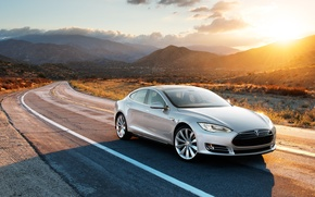 Picture road, sunset, mountains, Tesla, electric car, model s