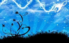 Wallpaper angel, vector, stars