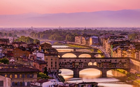 Picture the sky, landscape, mountains, bridge, home, Italy, Florence, the Arno river, the view from Piazzale …