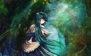 Wallpaper anime, Hatsune Miku, forest, Vocaloid, blue hair