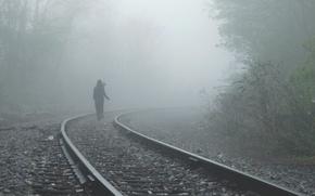 Picture girl, fog, alone, mood, rails, railroad, I walk a lonely road