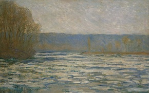 Picture landscape, picture, Claude Monet, Floating ice on the Seine near: