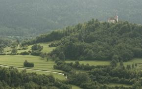 Wallpaper road, trees, castle