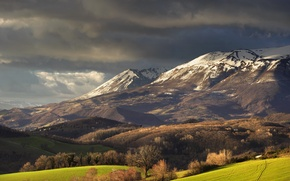 Picture field, forest, snow, mountains, clouds, spring, top, Alba