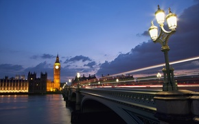 Picture the sky, clouds, clouds, bridge, the city, lights, river, England, London, the evening, excerpt, lighting, …