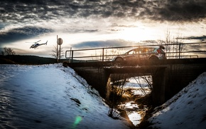 Picture The sun, Ford, The sky, Winter, Auto, Bridge, Snow, Sport, Light, Helicopter, Race, WRC, Rally, …