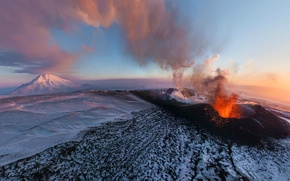 Picture the sky, clouds, Mountains, the volcano, the eruption, crater
