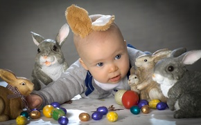 Picture Easter, rabbits, rabbits, ears, child, Easter eggs, Happy Easter