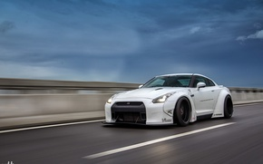 Picture nissan, turbo, white, road, japan, jdm, tuning, gtr, speed, racing, highway, r35, nismo, datsun