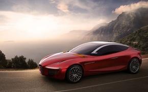 Wallpaper Concept, Alfa Romeo, Red, Car, Gloria, Road