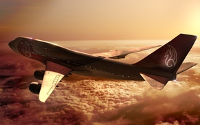 Wallpaper Boeing, Flight, The sky, Boeing, Height, Clouds, 747, Rays, Sunset, The sun, The plane