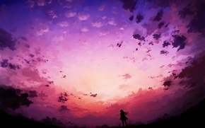 Picture the sky, clouds, Girl, silhouette, art