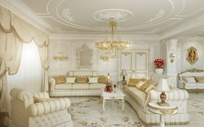 Picture white, room, sofa, gold, interior, picture, chairs, chandelier, living room