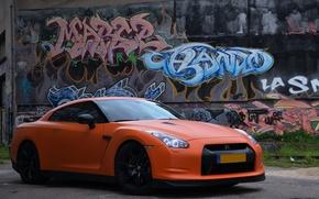 Picture nissan, graffiti, gtr, matte, ornge