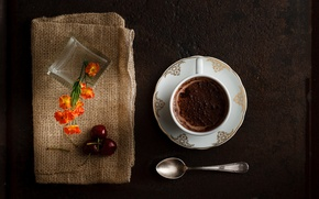 Picture chocolate, spoon, Cup