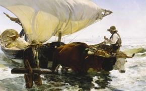 Wallpaper picture, genre, boat, Joaquin Sorolla, Return from Fishing, seascape, sail
