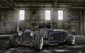 Picture retro, classic, the front, hangar, classic car, hot-rod