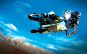 Wallpaper the sky, motorcycle, motocross