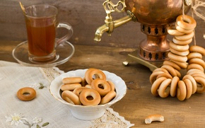 Picture table, tea, Cup, bagels, samovar, tablecloth, drying