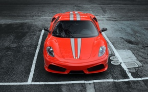 Picture asphalt, red, strip, Parking, red, Ferrari, f430, the front, F430, the Scuderia, scuderia, frrrari