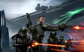 Picture Star Wars, Art, Star Destroyer, Battle, Conqueror, Shadow Scouts, Storm Commandos, Victor Strang