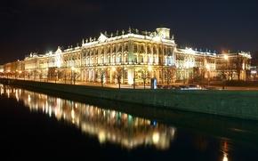 Wallpaper reflection, Night, Peter, Saint Petersburg, The Hermitage