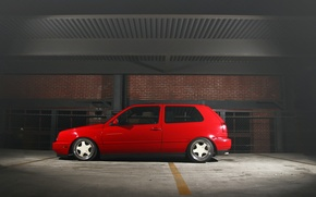 Picture red, volkswagen, profile, red, Golf, golf, Volkswagen, MK3