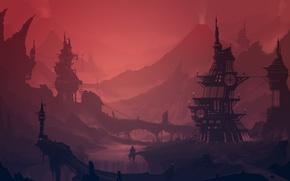 Picture river, sunset, science fiction, artwork, cityscape, mist, futuristic, volcanoes