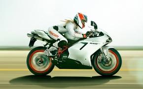 Picture girl, motorcycle, Ducati, ducati 848