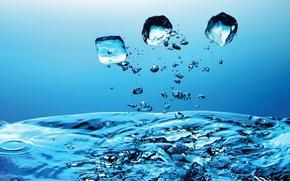 Wallpaper blue, Water, drops