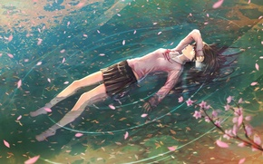 Picture letter, water, girl, branch, anime, petals, Sakura, tears, art, schoolgirl, jname