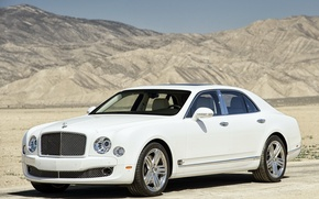 Wallpaper mountains, Machine, Sedan, Auto, desert, Bentley, sand, Bentley, Side view, Mulsan, mulsanne, White, Suite